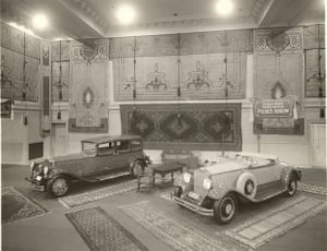 "Pierce-Arrow Showroom, 1929. Can't you just see cases of motor oil stacked up in a pyramid on one of these rugs with a big ""Boss is Gone Sale"" poster?"