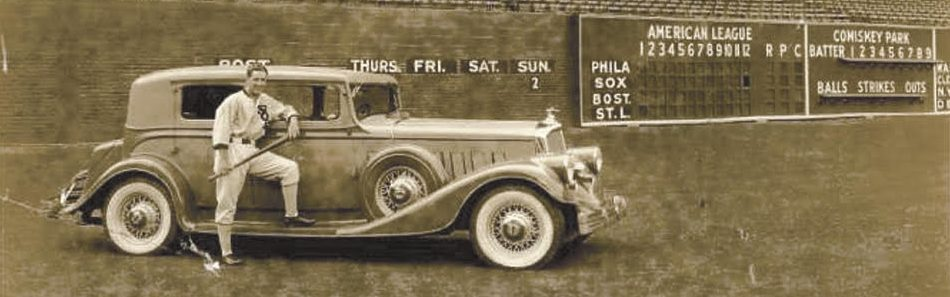 Billy Sullivan with his Pierce Arrow at Chicago White Sox Field - Comiskey Park (ca. 1932)