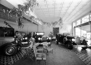 Pierce-Arrow Showroom, 1404 E. Douglas, Wichita, Kansas, 1930. No piles of tires or big colorful sales banners here.